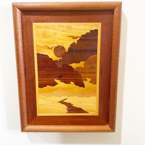 Vintage mixed wood inlay sunset wall art Boho MCM